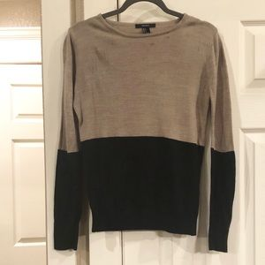 Forever 21 black/taupe color block sweater, Small